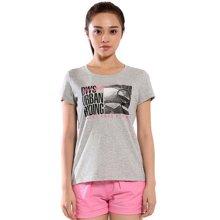 德尔惠夏季新款韩版修身女T恤衫圆领透气短袖运动T恤女62620137