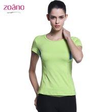 佐纳(ZOANO) 春夏  女 跑步瑜伽健身服  反光夜跑 舒适透气 速干排汗运动短袖T恤