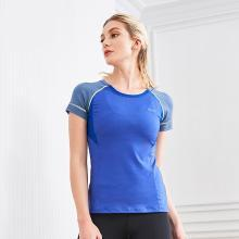 佐纳春夏新品女子跑步健身服修身撞色拼接反光舒适透气轻薄速干运动短袖T恤女圆领修身女上衣