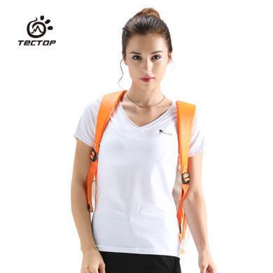 TECTOP/探拓女款短袖男休闲运动吸汗速干衣弹力透气V领t恤
