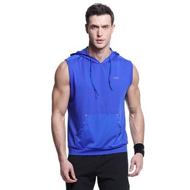 佐納(ZOANO)夏季男士 跑步訓練健身服 速干彈力寬松無袖連帽衛衣短袖背心T恤