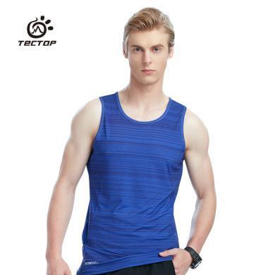 TECTOP/探拓男款戶外運動T恤無袖跑步速干背心透氣籃球服打底汗衫