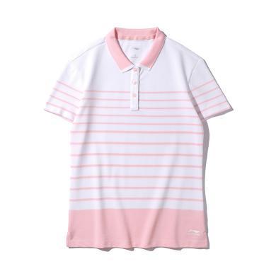 李寧短袖POLO衫女士2019新款翻領時尚女裝休閑夏季針織運動上衣APLP062