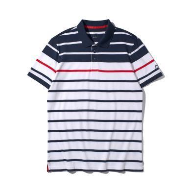 李寧短袖POLO衫男士2019新款時尚翻領男裝休閑夏季針織運動上衣APLP125