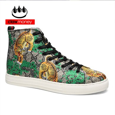 Claw Money新款男鞋孟加拉虎进口莱卡布3D打印透气休闲板鞋