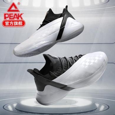 匹克 態極系列秋冬新款籃球鞋男帕克7代實戰球鞋低幫減震運動鞋男黑白 E93323A
