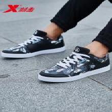 特步男鞋2019新款板鞋低帮正品休闲鞋涂鸦春季运动鞋子男士滑板鞋
