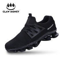 Claw Money百搭男鞋子男士運動休閑鞋潮流透氣舒適時尚編織刀鋒跑鞋