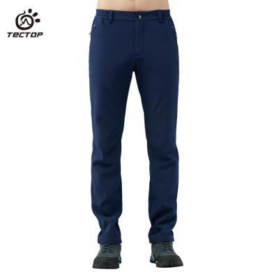 探拓沖鋒褲男款軟殼褲冬季戶外保暖登山褲加絨加厚防水