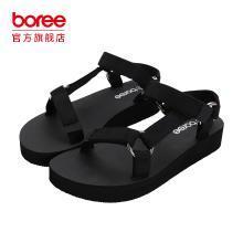Boree/宝人2018夏季新款时尚外穿女鞋坡跟防水台凉鞋厚底松糕鞋