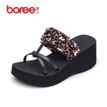 宝人一字拖女 夏季时尚外穿居家洗澡防滑凉拖鞋2018新款坡跟鞋女
