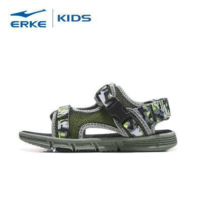 鴻星爾克童鞋男童夏季魔術貼沙灘鞋 涼鞋 戶外沙灘鞋 兒童涼鞋 軟底沙灘鞋63119206063-1