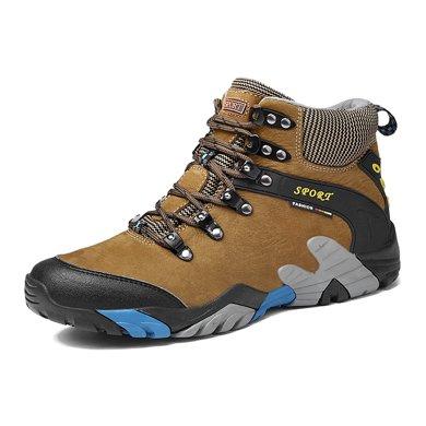 樂嘉途高幫鞋男頭層牛皮中幫棉鞋冬季防滑雪地鞋保暖戶外鞋子加絨不加絨可選L2059