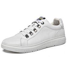 樂嘉途男鞋春季新款牛皮男士皮鞋小黑鞋時尚潮流板鞋低幫休閑鞋男L2065
