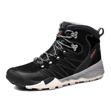 樂嘉途棉鞋男冬季戶外運動休閑高幫真皮鞋保暖頭層牛皮戶外鞋加絨不加絨可選L2060