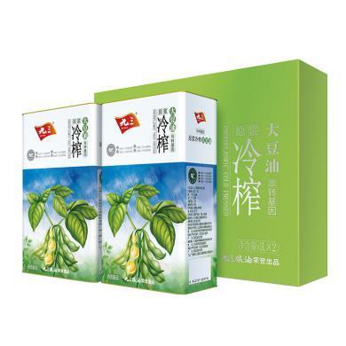 九三 非轉基因 冷榨大豆油(1L*2) 低溫冷榨食用油鐵桶禮盒裝