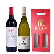 【礼盒装】澳洲奔富(Penfolds)Bin407红葡萄酒(750mL/瓶)+艾诺.精选园长相思白酒(750mL/瓶) 送礼盒+开瓶器