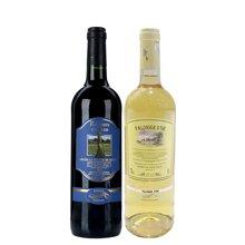 【组合装双支】法国爱上巴黎干红葡萄酒750mL +法国金棕榈白葡萄酒750mL 包邮