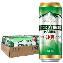 哈尔滨啤酒(Harbin)冰爽拉罐500ml*4*6 听装 整箱装