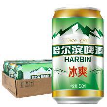 哈尔滨(Harbin)冰爽啤酒 330*4*6听 整箱装 清澈甘醇 一起 哈啤