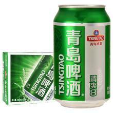 青島啤酒(TsingTao)清爽8度330ml*24聽 聽裝整箱裝(新老包裝隨機發放)