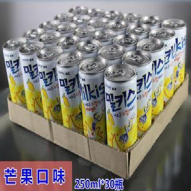 韓國進口lotte樂天妙之吻芒果牛奶味碳酸飲料250ml*30瓶蘇打飲品