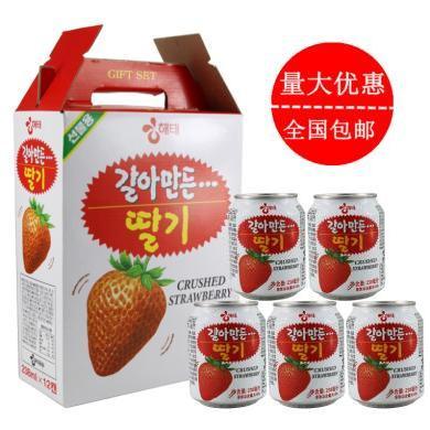 19年新貨整箱韓國進口海太草莓果汁飲料 果肉果粒238mlX12罐包郵