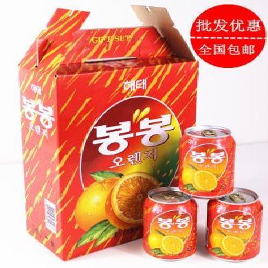 整箱送礼 韩国进口海太桔子果粒果汁饮品 橘子果肉果粒饮料238mlX12罐