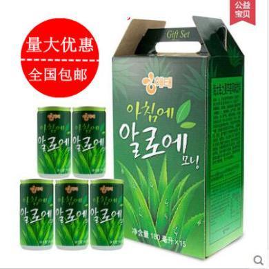 韩国进口饮料/海太芦荟汁/180mL*15瓶/韩国果汁/15听装 包邮