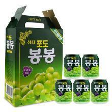 整箱韩国进海太牌葡萄果汁饮料果肉粒238mlX12罐