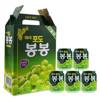 整箱韓國進海太牌葡萄果汁飲料果肉粒238mlX12罐