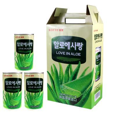 韩国原装进口 Lotte乐天爱上芦荟芦荟味饮料180ML*15罐 整箱装