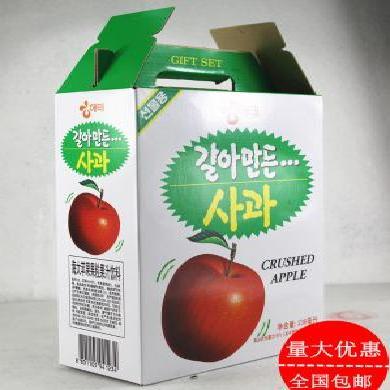 整箱送礼韩国进口海太饮品 粒粒果肉苹果汁238ml*12罐