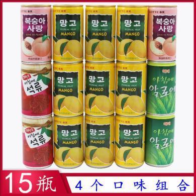 韓國樂天芒果汁水蜜桃汁石榴汁海太進口飲料4個口味組合15瓶裝果汁飲料 飲品