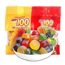 馬來西亞進口LOT100一百份果汁軟糖1kg*2袋(大袋) 百分百軟糖 結婚年貨喜糖糖果零食 什錦+芒果各一袋