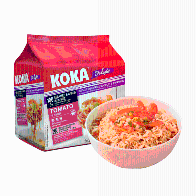 新加坡KOKA泡面 十大進口方便面番茄味拉面非油炸速食面85gx4連包網紅泡面小食堂 宵夜 休閑零食品