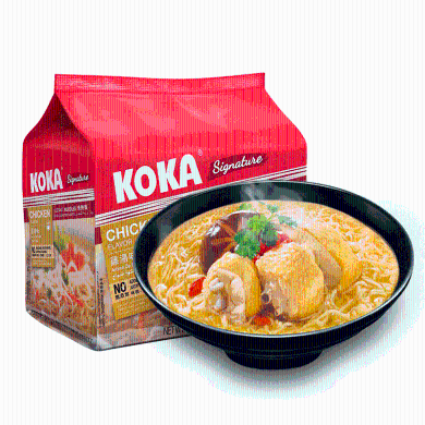 新加坡KOKA泡面 十大进口方便面非油炸鸡汤面清真速食面拉面拌面泡面小食堂85gx4包袋装面进口食品网红