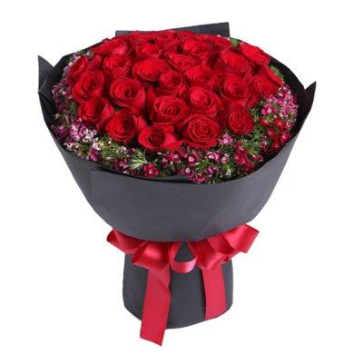 忘情巴黎-33枝紅玫瑰鮮花春節新年元宵節情人節女朋友創意禮物生日禮物