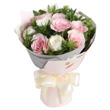 爱丽丝梦境----粉佳人粉玫瑰6枝,白玫瑰6枝
