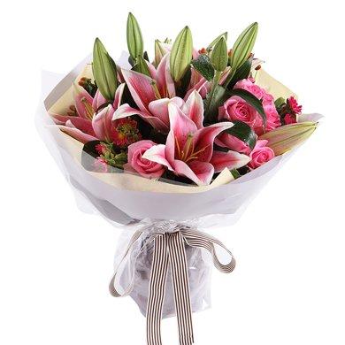 好時光----粉色香水百合4枝,蘇醒粉玫瑰9枝