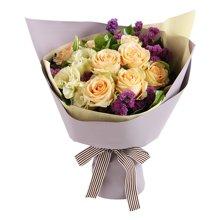 爱如氧气----香槟玫瑰9枝,香槟色桔梗2枝