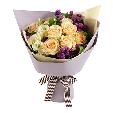 愛如氧氣-香檳玫瑰9枝鮮花情人節創意禮物送女朋友新年春節送禮拜訪生日禮物