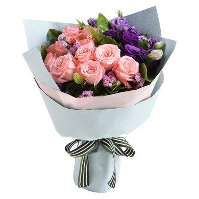 依靠-戴安娜12枝,紫色桔梗5枝,粉色勿忘我3枝情人節送老婆愛人女朋友創意禮物生日禮物女神節女生節38婦女節