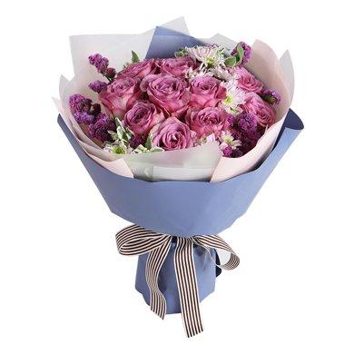 只要有你-紫玫瑰11枝,淺粉色雛菊3枝鮮花春節新年元宵節情人節送老婆愛人女朋友創意禮物生日禮物