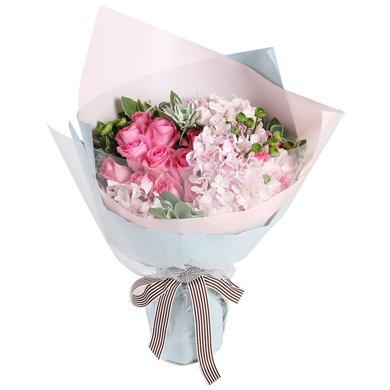 最美的旋律----蘇醒粉玫瑰16枝,粉色繡球1枝