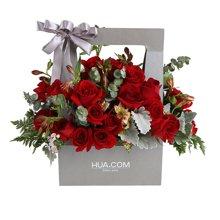 想愛你----紅玫瑰19枝、橙黃色水仙百合8枝