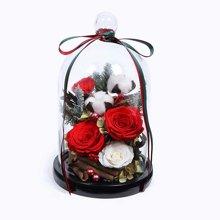 Be My Love---- 厄瓜多尔进口红色永生玫瑰2枝,进口白色永生玫瑰1枝,棉花2朵,粉色珍珠5颗