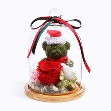 圣诞森情蜜语----苔藓小熊1个,厄瓜多尔进口红色永生玫瑰1枝,进口白色奥斯汀玫瑰1朵,浅粉色小玫瑰2朵