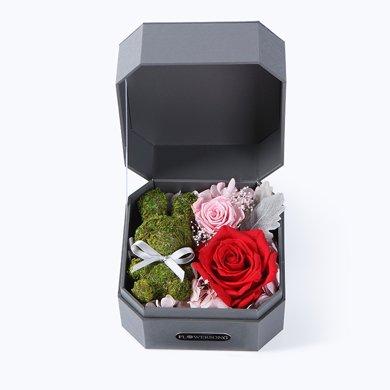 迷你兔·红-苔藓小兔1只、进口红色永生玫瑰1朵、樱花粉小玫瑰1朵春节新年元宵节情人节送老婆爱人女朋友创意礼物生日礼物