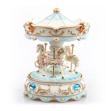 【新品】寶石旋轉木馬/藍-藍色可愛音樂盒,新年春節包裝禮盒少女心表白情人節創意禮物送閨蜜女朋友生日禮物